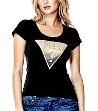 NEW Genuine GUESS Black Sparkly Diamonte Logo T Shirt Womens Size XS (X-Small)