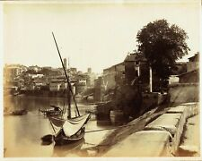Boats on the Tiber, Rome, Italy.  Large 1870s albumen photograph