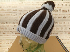 FRED PERRY Beanie Men's Striped Bobble Raised Knit Hat Blue Brown Wool Cap BNWT