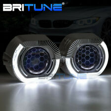 HID Bixenon Projector Headlight Honeycomb Lens Sport LED Angel Eyes Halo DRL Kit