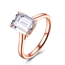 Solid 14K Rose Gold  2.2ct Cubic Zirconia Emerald 9X7mm Wedding Solitaire Ring