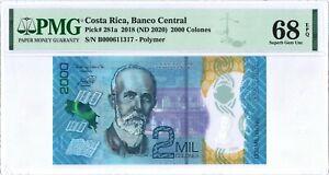 Costa Rica 2.000 Colones P281a 2018 PMG 68 EPQ s/n B000611317 Polymer