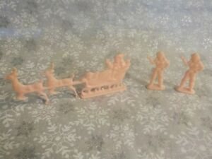 Vintage 1950s Miniature Pink Cake Topper Santa Sleight & Figurines