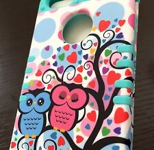 For iPHONE SE 5S HARD&SOFT HYBRID HIGH IMPACT CASE MINT BLUE PINK LOVE TREE OWLS