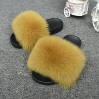 New Women Real Fox Fur Indoor Outdoor Flat Slipper Fashion Soft Slider 66018F