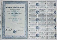Action - Compagnie Financière MOCUPIA, action de 100 Frs N° 008233