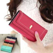 Women PU Leather Wallet Button Clutch Long Purse Card Holder Gift