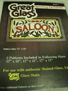 Book GREAT GLASS Sporting Patterns 3 Full Size Craft # 4 1980 UNCUT PLAID