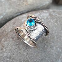 Blue Topaz Solid 925 Sterling Silver Band Meditation Statement Ring Size M421
