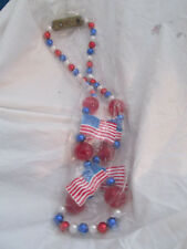 Blinky 4Th Of July Light Up Necklace Plastic Flags & Beads