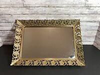 Vtg MCM Retangle Ornate Gold Metal Lipstick Comb Holder Vanity Mirror Tray