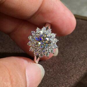 925 Silver Round Cut CZ Sunflower Wedding Engagement Ring for Women Girl