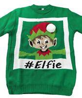 Girls Boys Kids Knit 3D Pom Elf Selfie Green Elfie Unicorn Xmas Christmas Jumper