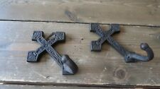 "Vintage Cast Iron Cross Coat Hooks 5.5"" x 3.5"""