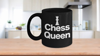 Chess Queen Piece Mug Black Coffee Cup Funny Gift for Gamer, Grandmaster,