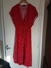 Womens Ditsy Floral Print Midi Dress From New Look Size 18 Red