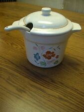 Treasure Craft Ivory Brown Speckled Ceramic Bean Pot & Spoon/Poppies