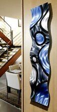 Metal Wall Art Blue Silver Black Wave Home Decor Accent Wall Sculpture Jon Allen