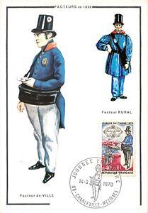 Carte Maximum FDC France JOURNÉE DU TIMBRE FACTEUR DE VILLE EN 1830 Mars 1970 n2