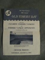 Yankees 1964 Program - Vintage New York Baseball Old Timers Day Game Di Maggio