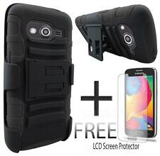 FOR SAMSUNG GALAXY AVANT G386T BLACK RUGGED HYBRID PHONE CASE W/ HOLSTER + GUARD
