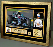 Lewis Hamilton 5 times World Champion 2018 Signed Gold Frame Canvas Print Signed