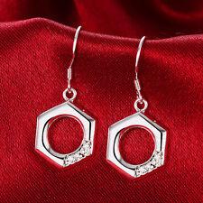 Korea Women Lady Hexagon Hollow Earrings Ear Stud Cuff Jewelry Dangle Earring
