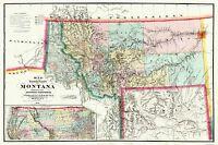 Montana Territory - Delacy 1872 - 34.5 x 23