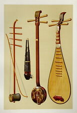 Chinese Instruments  Musical Instrument Chromolithograph 1888