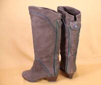 5S Damen Trachten Stiefel Slouch Boots Nubuk Leder braun grün Gr. 36 Vintage