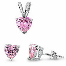 VALENTINE GIFT! Pink Topaz Heart .925 Sterling Silver Pendant & Earrings Set .5""