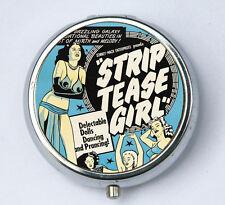 Burlesque Pill Case pillbox holder box pin up strip tease rockabilly pulp