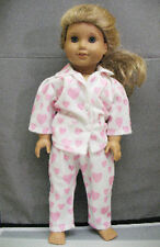 """18"""" American Girl: Doll Clothes - White Flannel w/ Pink Heart Pajamas PJ's Night"""