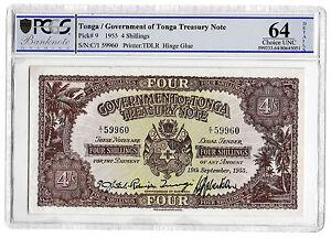 1955 Tonga Government of Tonga Treasury Note 4 Shillings TDLR P9 Choice Unc 64