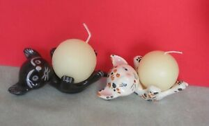 Two ceramic cat candle holders - Walter Bosse style