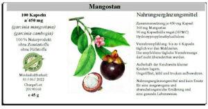 Mangostan 100 Kapseln á 450 mg - garcinia -  100% vegan - 45 g