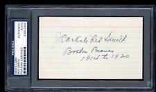 James Carlisle Red Smith d1966 signed index 3x5 card PSA 1914 Braves WS champ