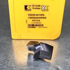 """Kennametal 1.297"""" KSEM3294HPGM KC7315 Carbide Drill Tip Insert KSEM1297HPG"""