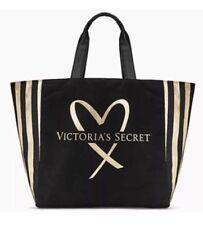 Victoria's Secret Limited Edition 2017 Love Black and Gold Stripe Tote Bag
