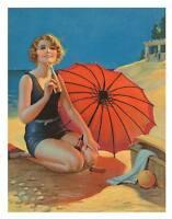 "Vintage Art Deco Poster A2 CANVAS PRINT ~ Girl beach red umbrella 24"" X 16"""