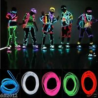 Neon LED Light Glow EL Wire String Strip Rope Tube Car Dance Prarty + Controller