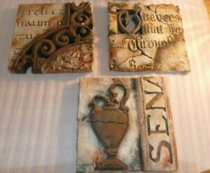 """Set of 3 Distressed Faux """"Shattered Stone Tablet"""" wall decor plaques HEAVY 8 x 8"""