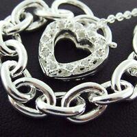 BRACELET GENUINE REAL 925 SOLID STERLING SILVER DIAMOND SIMULATED HEART PADLOCK