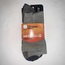 NWT Merrell Courant Solid Crew Socks Lightweight Hiking XL Stone Pierre