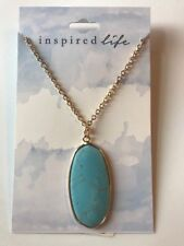 "INSPIRED LIFE 30"" Gold Chain Necklace w/ Turquoise Stone Pendant NWT $25"
