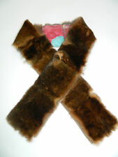 NEW BROWN CHINCHILLA REX FUR STOLE COLLAR SCARF BOA FASHION TWO SIDES FLOWERS