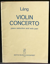 Partition / Score Lang Istvan Concerto violin Mucica Budapest 1977 NM-