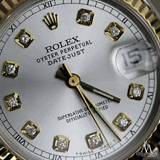 Rolex 31mm Datejust 18K Gold & Stainless Steel Silver Diamond Accent Face RT