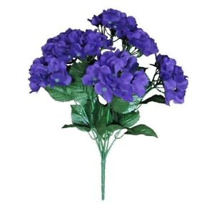"Purple 7-Hydrangea 20"" Bush Artificial Silk Flower All Occasion Decors Crafts US"