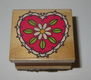Heart Daisy Rubber Stamp Flower Leaves Wood Mounted Love Floral #2